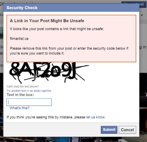 Facebookからの警告文