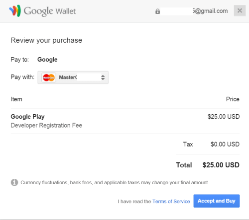 Google Play Console支払い同意画面
